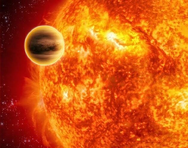 Ilustración de un planeta que orbita muy cerca de su estrella